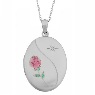 Fremada Rhodium Plated Sterling Silver Rose and Diamond Accent Oval Locket Necklace (18 inch)