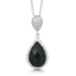 La Preciosa Sterling Silver Onyx and Diamond Accent Pendant