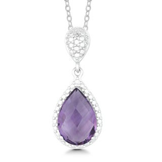 La Preciosa Sterling Silver Amethyst and Diamond Teardrop Pendant Necklace