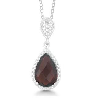 La Preciosa Sterling Silver Garnet and Diamond Accent Pendant Necklace