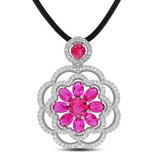 Miadora Sterling Silver White and Red Cubic Zirconia Flower Necklace