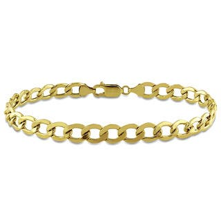 Miadora Men's Curb Chain Bracelet in 10k Yellow Gold|https://ak1.ostkcdn.com/images/products/9477798/P16659463.jpg?impolicy=medium