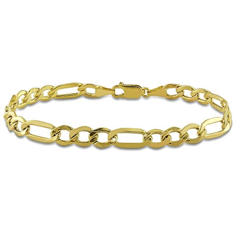 Miadora 10k Yellow Gold Men's Figaro Link Bracelet