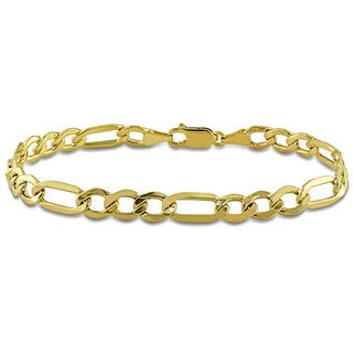Miadora 10k Yellow Gold Men's Figaro Link Bracelet