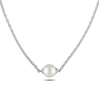 Miadora Sterling Silver Cultured Freshwater White Pearl Necklace (9-9.5 mm)