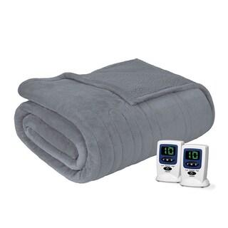 Beautyrest Solid Microlight to Berber Heated Blanket (Option: QUEEN-GREY)