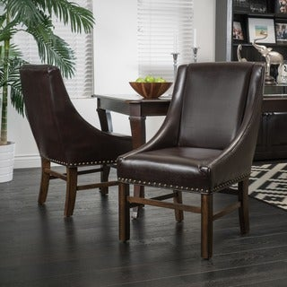 James Bonded Leather Dining Chair (Set of 2) by Christopher Knight Home