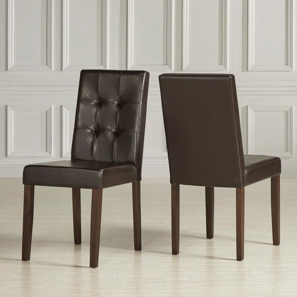 urban style solid wood leatherette padded parson chair set of 2