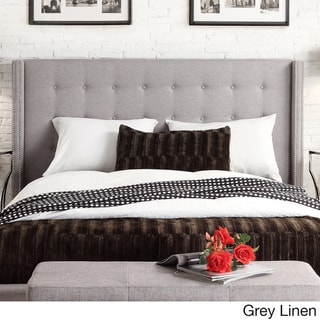 Marion Nailhead Wingback Tufted King Size Headboard by INSPIRE Q