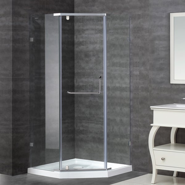 Aston 36-in x 36-in Semi-Frameless Neo-Angle Shower Enclosure in Stainless Steel with Base
