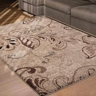 "Carolina Weavers Grand Comfort Collection Oatmeal Beige Shag Area Rug (5'3 x 7'6) - 5'3"" x 7'6"""