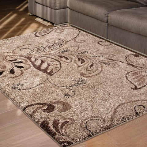 Carolina Weavers Grand Comfort Collection Oatmeal Beige Shag Area Rug - 5'3 x 7'6