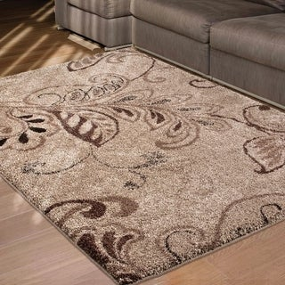 Carolina Weavers Grand Comfort Collection Oatmeal Beige Shag Area Rug (5'3 x 7'6)