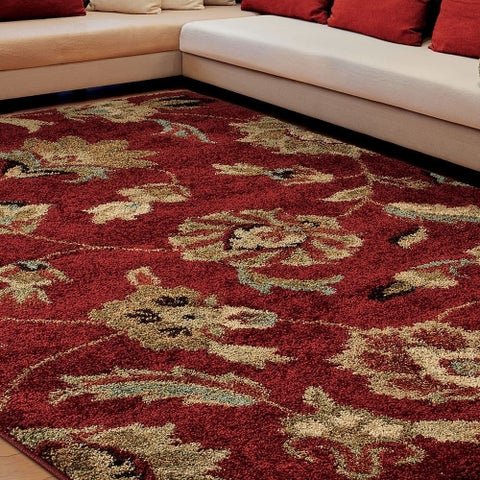 "Carolina Weavers Grand Comfort Collection Floral Tendon Red Shag Area Rug (5'3 x 7'6) - 5'3"" x 7'6"""