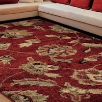 Carolina Weavers Grand Comfort Collection Floral Tendon Red Shag Area Rug (5'3 x 7'6)