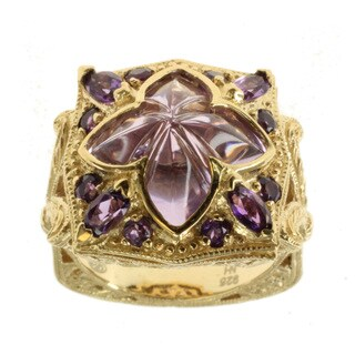 Dallas Prince Gold over Silver Mosaic Doublet Quartz and Amethyst Ring