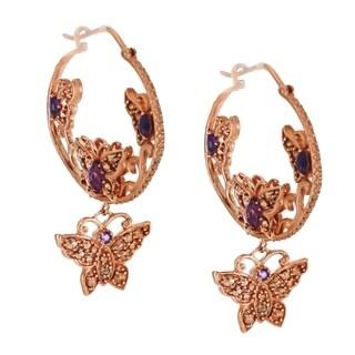 Dallas Prince Sterling Silver Marcasite & African Amethyst Butterfly Earrings