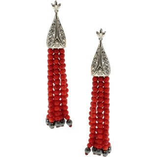 Dallas Prince Marcasite Earrings with Coral and Hematite Tassel