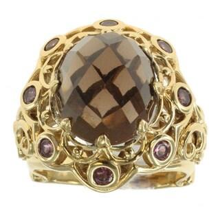 Dallas Prince Smokey Quartz and Rhodolite Ring