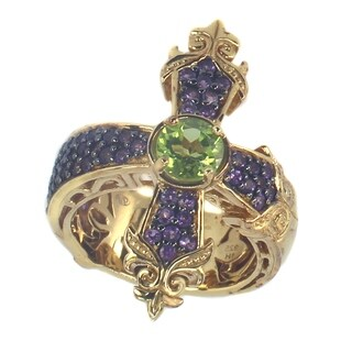 Dallas Prince Gold Over SIlver Amethyst And Peridot 'Cross' Ring