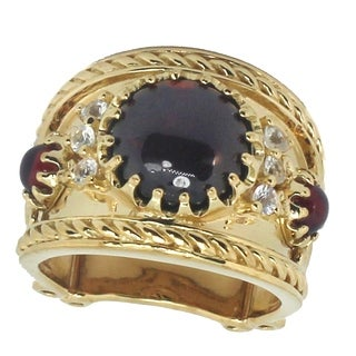 Dallas Prince Gold Over Silver Garnet and White Sapphire Ring