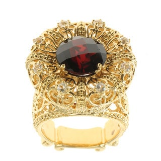 Dallas Prince Sterling Silver Garnet and White Topaz Crown Ring