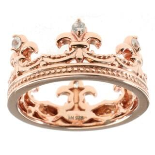 Dallas Prince Sterling Silver White Zircon 'Crown' Ring