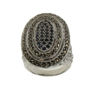 Dallas Prince Sterling Silver Blue Sapphire And Marcasite Scroll Ring