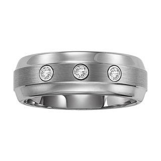 Cambridge Tungsten Carbide Men's 1/6ct TDW White Diamond Ring