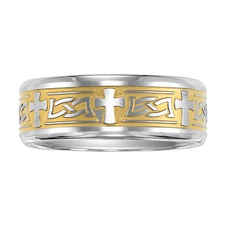 Cambridge Two-tone Stainless Steel Cross Ring