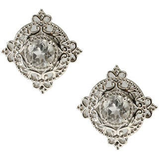 Dallas Prince Sterling Silver White Topaz Filigree Round Starter Stud Earrings