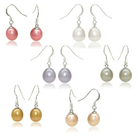 DaVonna Sterling Silver Freshwater Pearl 6-pair Earring Set (8-9 mm) - Grey/Gold/White
