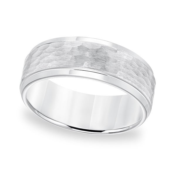 Cambridge White Tungsten Carbide Hammered Comfort Fit Ring