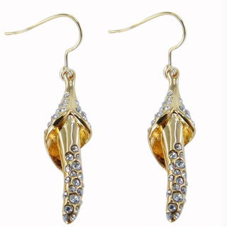 De Buman 18k Gold Plated and Crystal Silver Shade Earrings