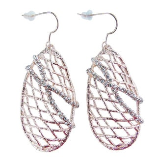 De Buman 18k Rose Gold Plated Crystal Dangle Earrings