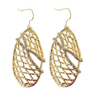 De Buman 18k Gold Plated Crystal Shade Dangle Earrings