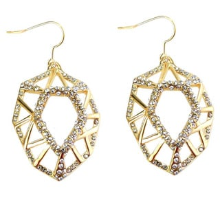 De Buman 18k Gold Plated with Crystal Dangle Earrings