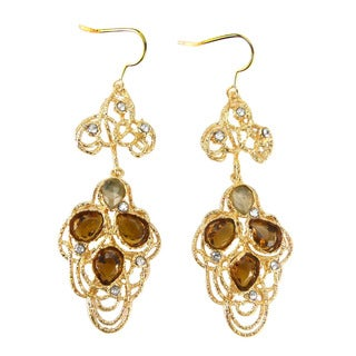 De Buman 18k Gold Plated Crystal Dangle Earrings
