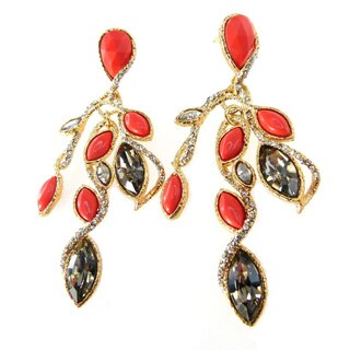 De Buman 18k Gold Plated Coral and Crystal Dangle Earrings