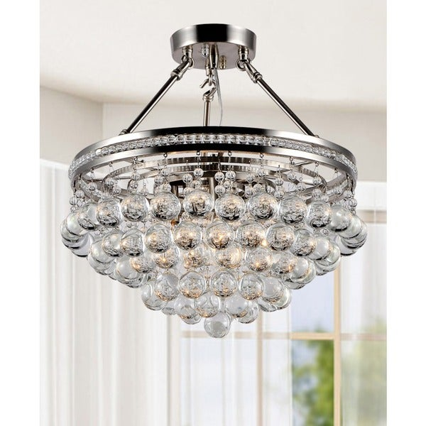 Eleanor Bright Nickel and Crystal Semiflush Mount Chandelier – Semi Flush Mount Chandelier