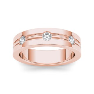 De Couer 14k Rose Gold 1/2ct TDW Contemporary Diamond Wedding Band (More options available)