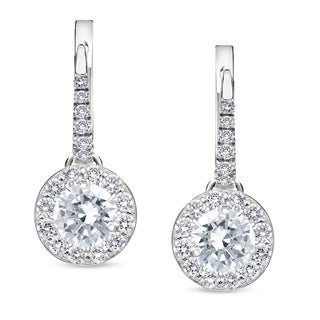 Auriya 14k White Gold 1/2ct to 2ct TDW Round Diamond Halo Leverback Earrings