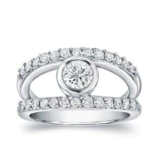 Auriya Split Shank 1ct TDW Round Diamond Engagement Ring 14k White Gold