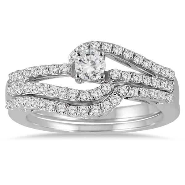 Marquee Jewels 10k White Gold 3/4ct TDW Diamond Bridal Set