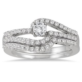Marquee Jewels 10k White Gold 3/4ct TDW Diamond Bridal Set