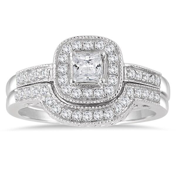 Marquee Jewels 10k White Gold 5/8ct TDW Diamond Halo Bridal Set