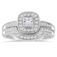 Marquee Jewels 10k White Gold 5/8ct TDW Diamond Halo Bridal Set