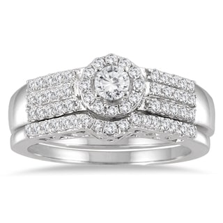 Marquee Jewels 10k White Gold 3/4ct TDW Diamond Halo Bridal Set
