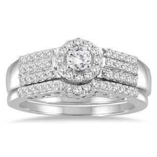 Marquee Jewels 10k White Gold 3/4ct TDW Diamond Halo Bridal Set (I-J, I1-I2)