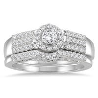 Marquee Jewels 10k White Gold 3/4ct TDW Diamond Halo Bridal Set